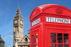 Photo of traditional red telephone box with Big Ben out of focus in the background.