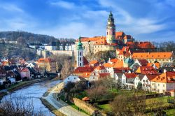 View of the old town of Cesky Krumlov, Czech Republic.