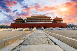 Photo of the ancient royal palaces building of the Forbidden City in Beijing, China