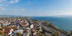Aerial view from a drone over the city of Radolfzell and Lake Constance on a sunny day in fall