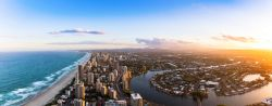 Panorama of Southern Gold Coast looking towards Broadbeach at dusk