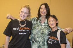 Kathy Buckley with two students at Reel Abilities Film Festival