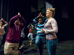 Theater Day for high school students, being led by faculty from the Department of Theater and Dance.