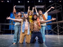 """Hair"" cast members in rehearsal."