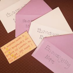 A group of encouraging notes at the Women's Center