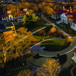 Aerial photo of college hall and central campus