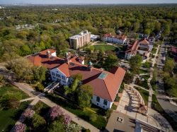 Photo of ariel view of Montclair State University campus buildings.