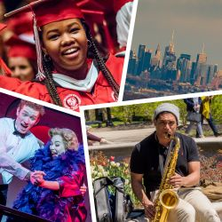 Photo montage of students during commencement, in a play, playing the saxophone, and the NYC skyline