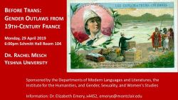 """Before Trans: Gender Outlaws from 19th-Century France"" lecture flyer"