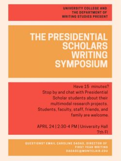 Presidential Scholars Writing Symposium event flyer