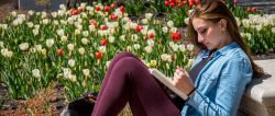 Photo of girl and tulips