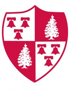 Red and white crest-shield for Montclair State University.