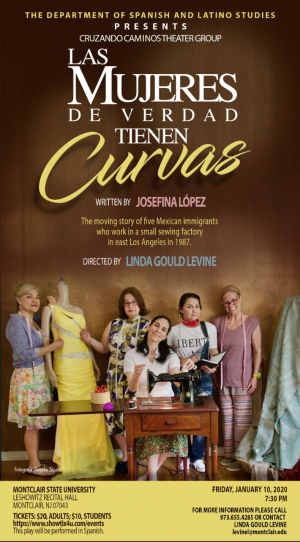 photo for performance of Real Women Have Curves. Shows 5 women with dresses and sewing machines