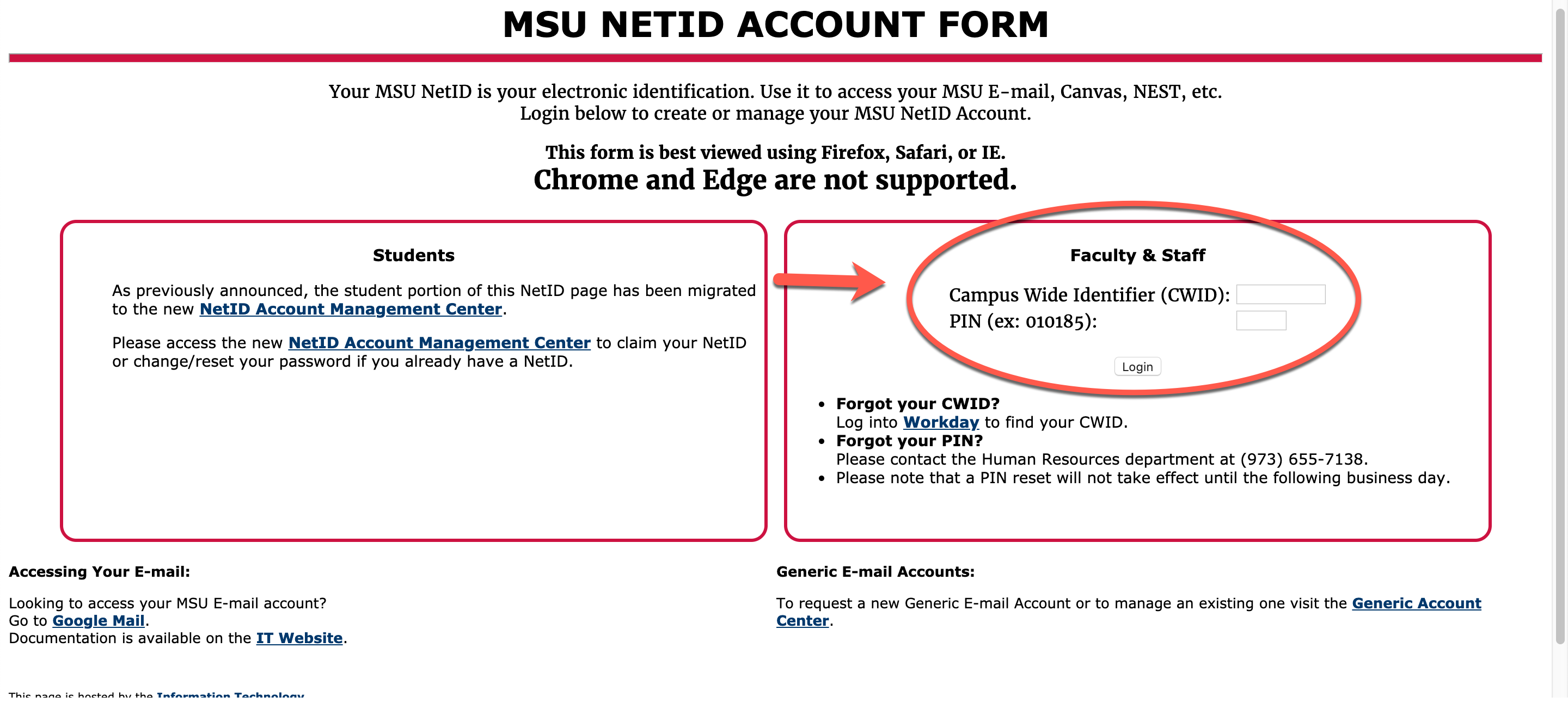 Netid form screenshot with faculty and staff highlighted
