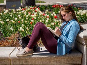 photo of girl and tulips